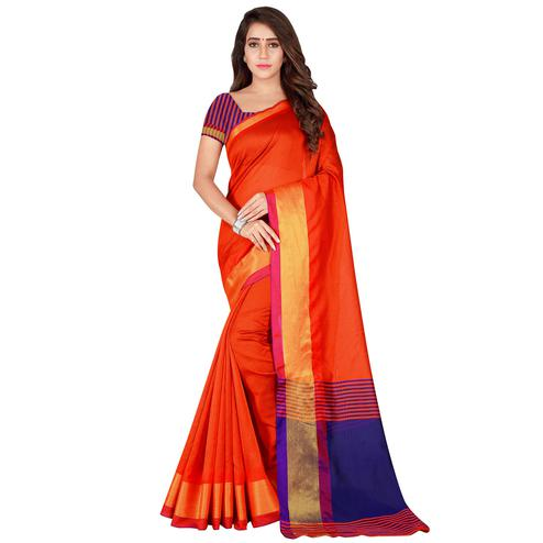 Ethnic Orange Colored festive Wear Cotton Silk Saree