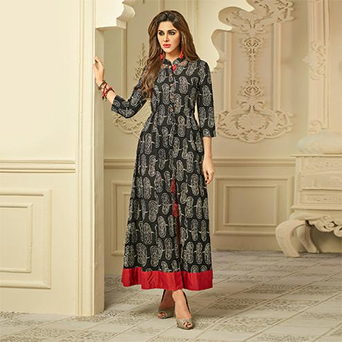 Stylish Black Slit Cut Printed Rayon Kurti