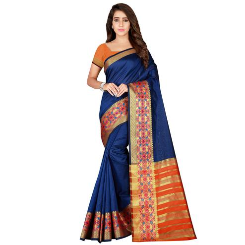 Surpassing Navy Blue Colored festive Wear Art Silk Saree