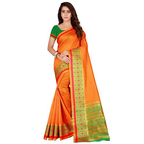 Intricate Orange Colored festive Wear Art Silk Saree
