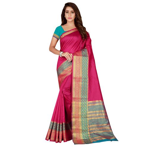 Arresting Magenta Pink Colored festive Wear Art Silk Saree