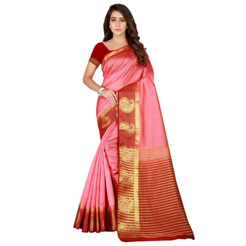 Sophisticated Pink Colored festive Wear Cotton Silk Saree