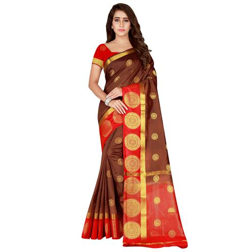 Trendy Brown Colored festive Wear Cotton Silk Saree
