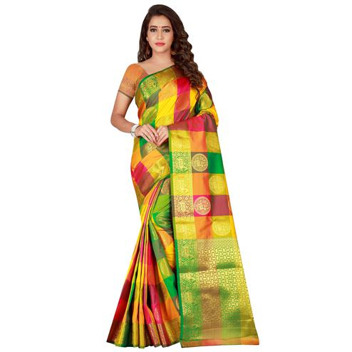 Pleasant Yellow Colored festive Wear Banarasi Silk Saree
