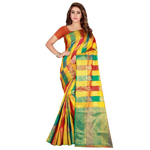 Opulent Yellow-Green Colored festive Wear Banarasi Silk Saree