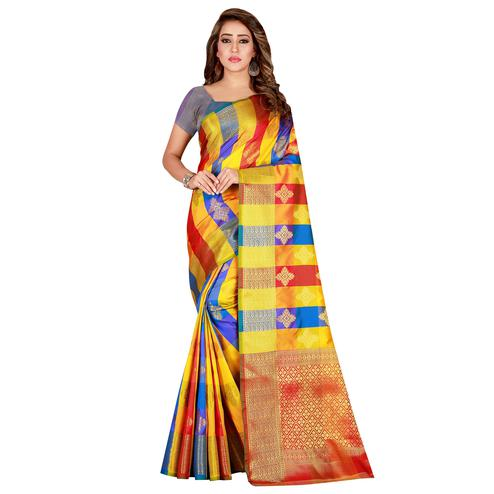 Energetic Yellow-Blue Colored festive Wear Banarasi Silk Saree