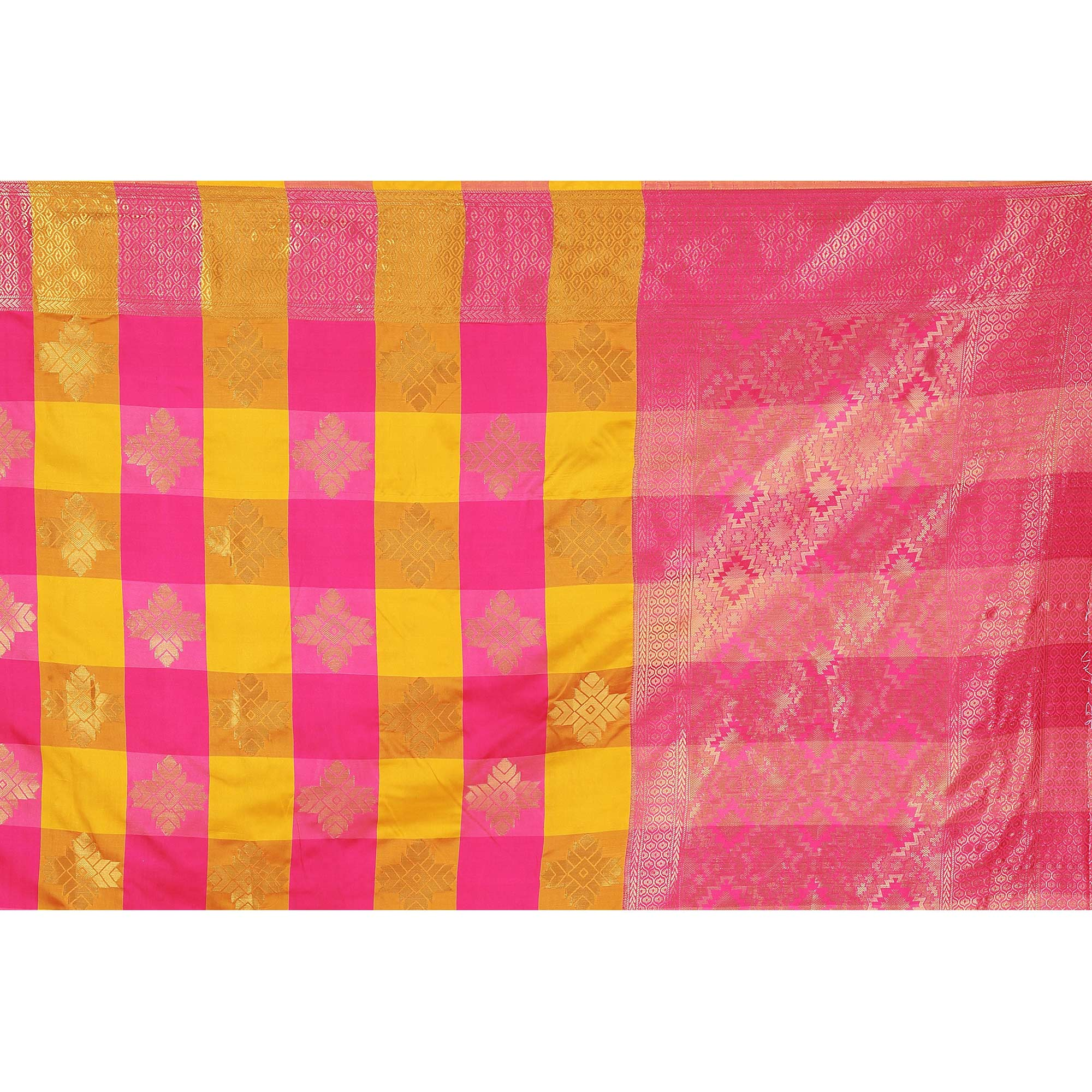 Glowing Yellow-Pink Colored festive Wear Banarasi Silk Saree