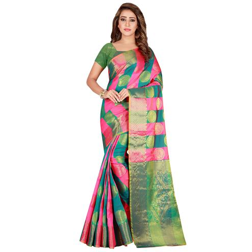 Exceptional Pink-Green Colored festive Wear Banarasi Silk Saree