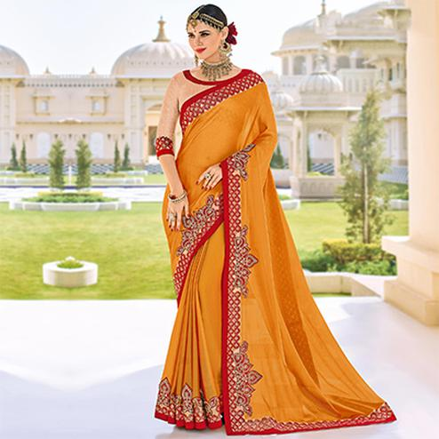 Orange Embroidered Work Party Wear Chiffon Saree