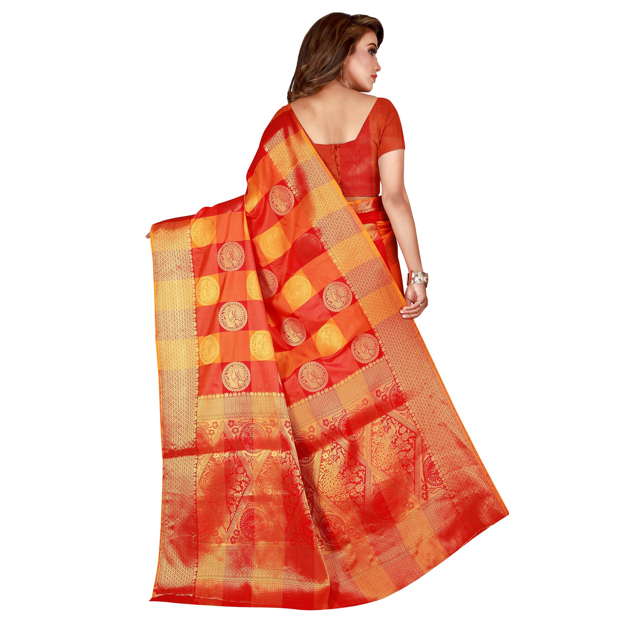 Gleaming Yellow-Red Colored festive Wear Banarasi Silk Saree