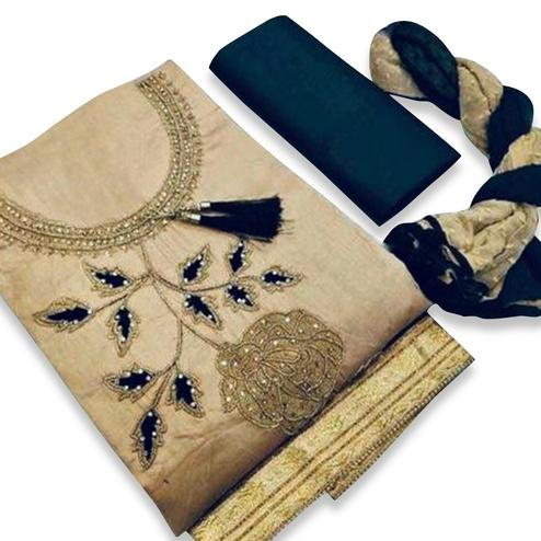 Desirable Beige Colored Partywear Embroidered Cotton Dress Material