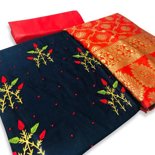 Gleaming Navy Blue Colored Partywear Embroidered Cotton Dress Material With Banarasi Dupatta