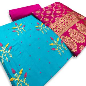 Mesmeric Sky Blue Colored Partywear Embroidered Cotton Dress Material With Banarasi Dupatta