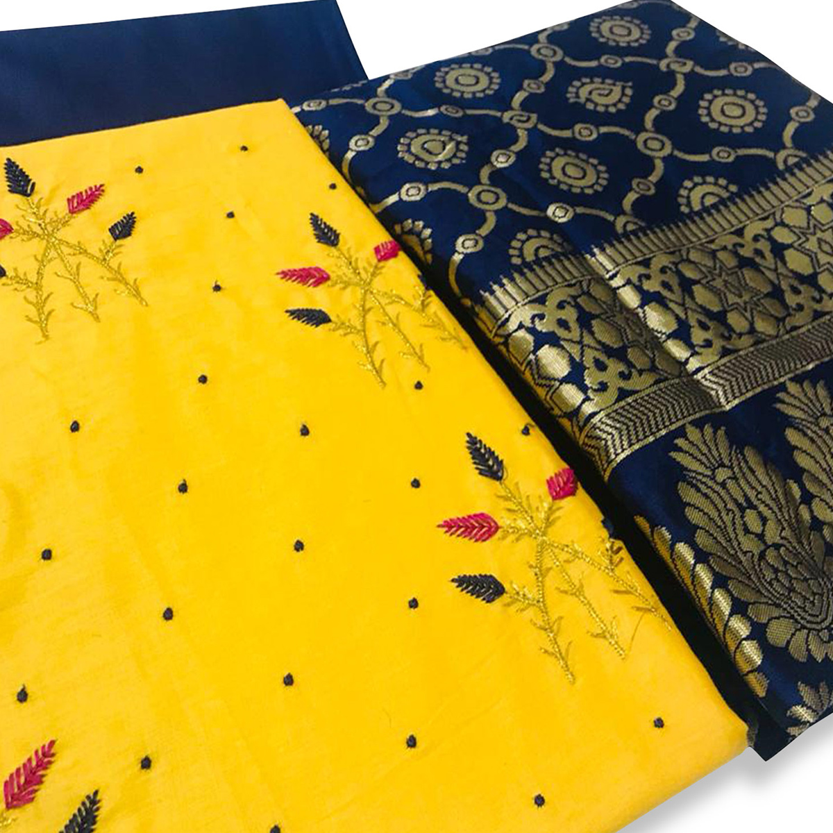 Unique Yellow Colored Partywear Embroidered Cotton Dress Material With Banarasi Dupatta