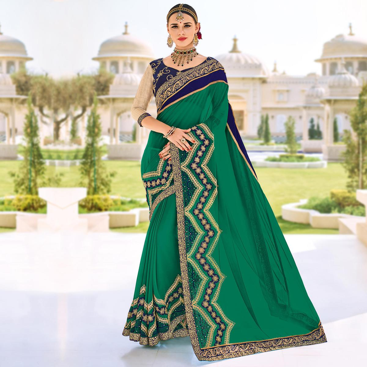 Green Floral Embroidered Work Party Wear Georgette Saree