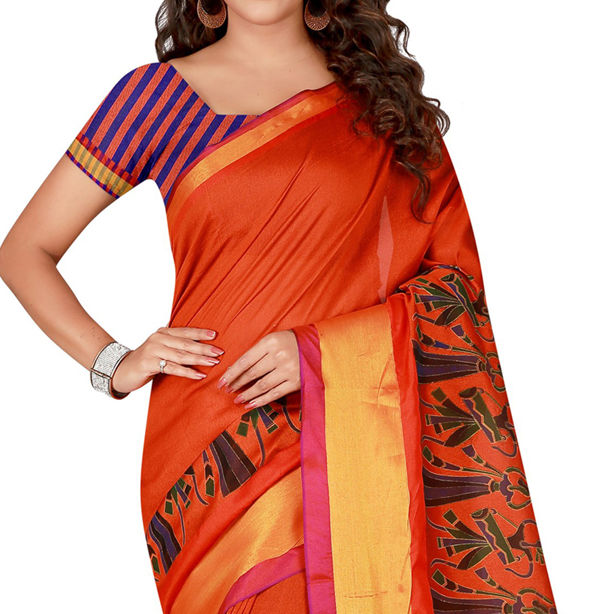 Demanding Orange Colored festive Wear Cotton Silk Saree