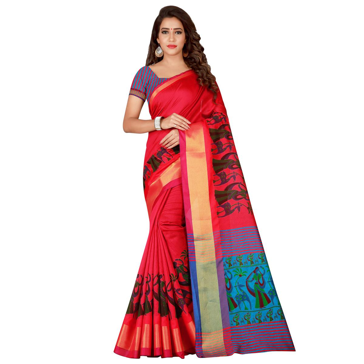 Refreshing Pink Colored festive Wear Cotton Silk Saree