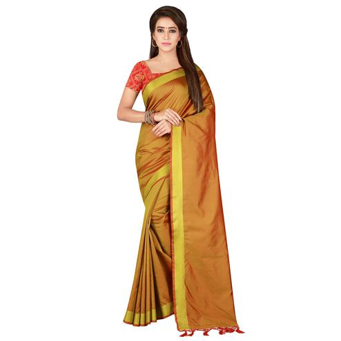 Flattering Golden Colored festive Wear Banarasi Silk Saree