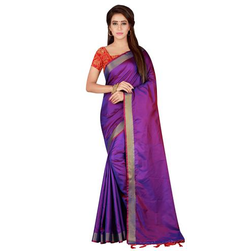Excellent Purple Colored festive Wear Banarasi Silk Saree