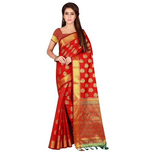 Flamboyant Red Colored festive Wear Banarasi Silk Saree