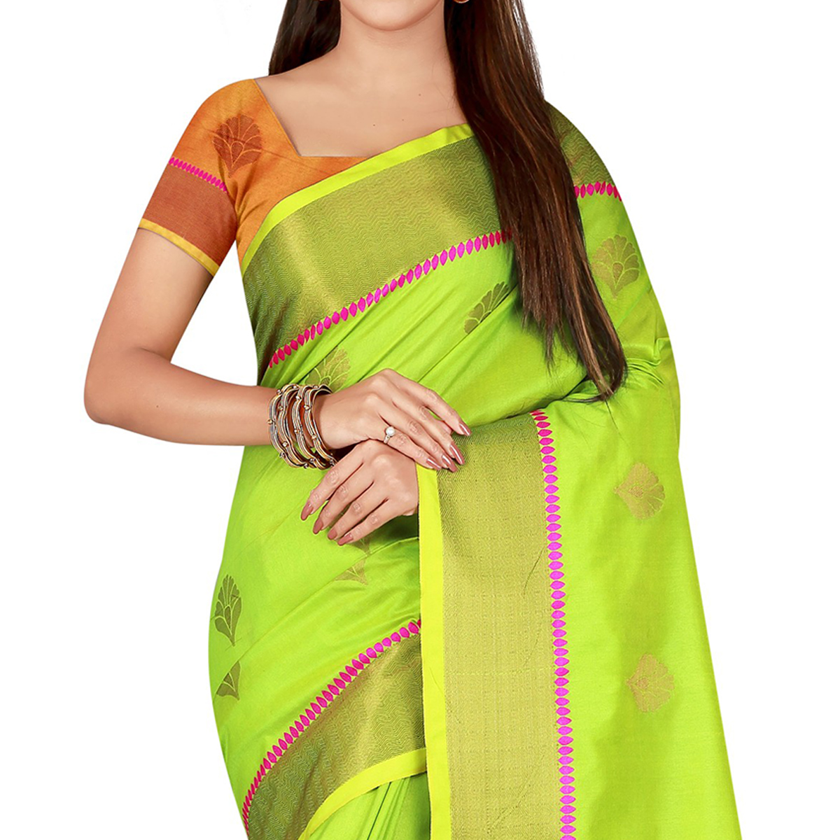 Pretty Green Colored festive Wear Banarasi Silk Saree