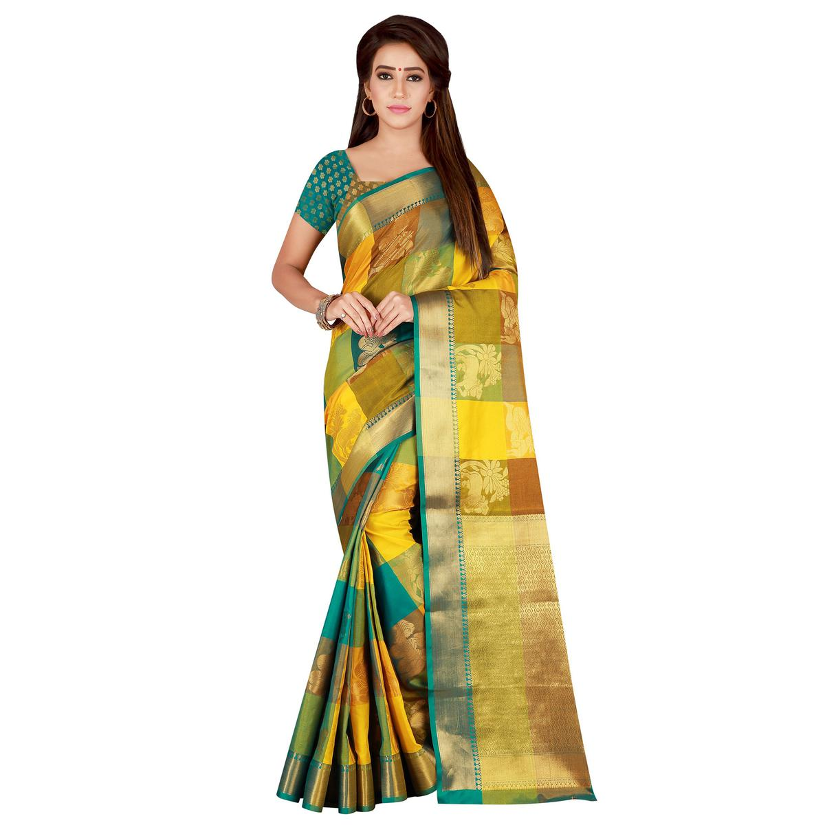 Alluring Yellow-Multi Colored festive Wear Banarasi Silk Saree