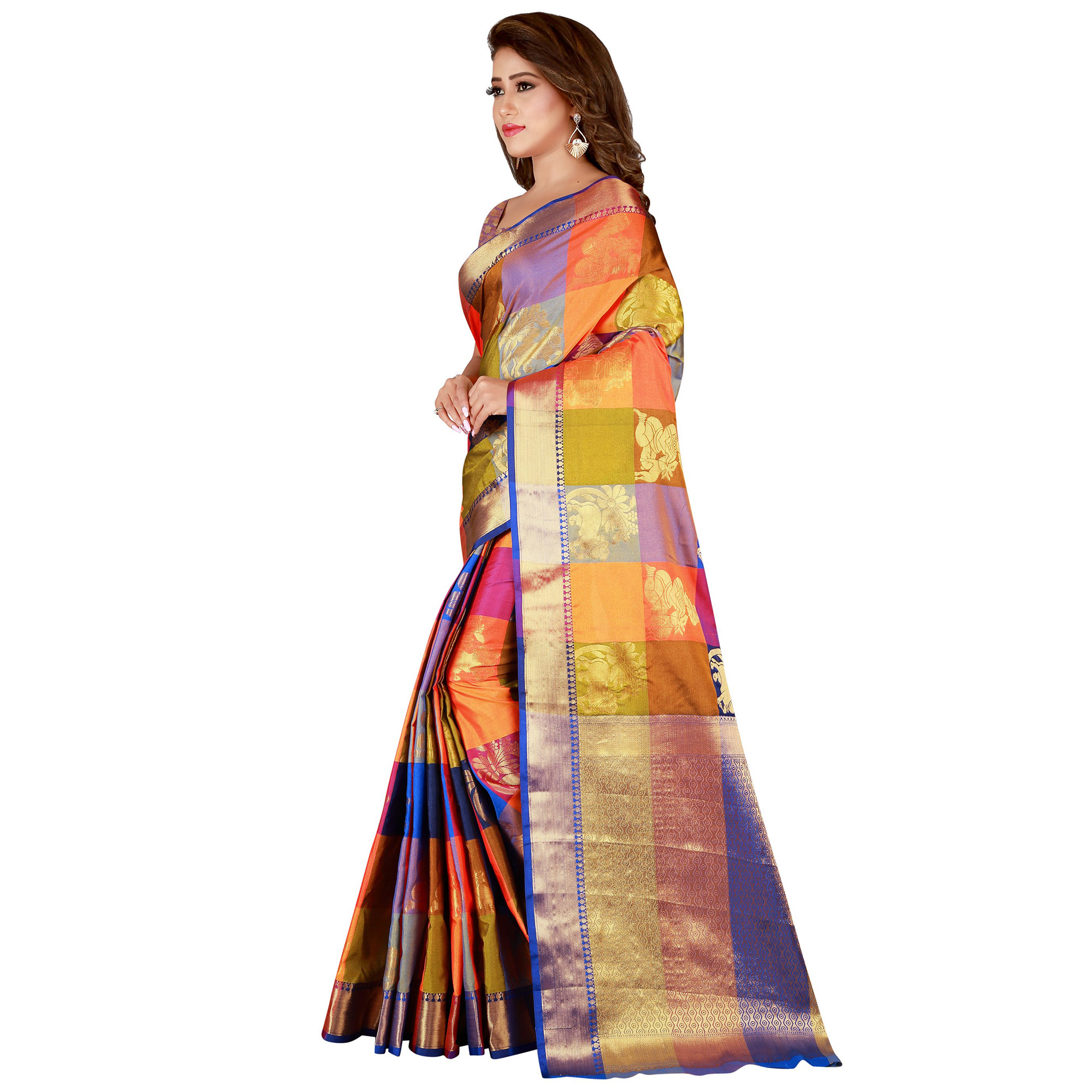 Flaunt Multi Colored festive Wear Banarasi Silk Saree