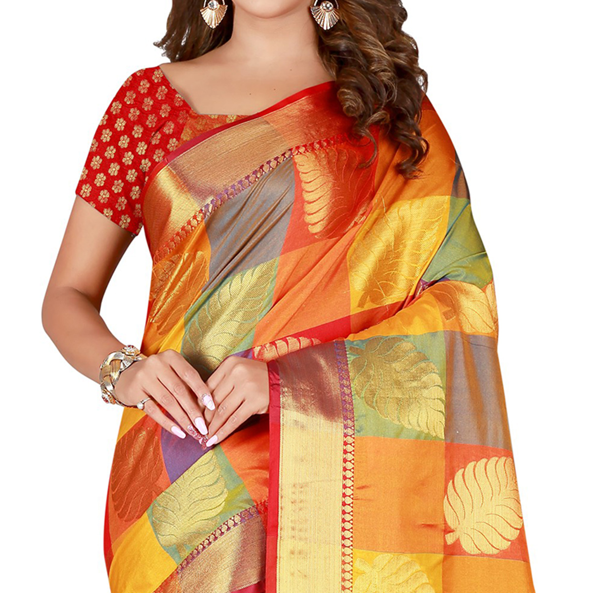 Flirty Orange-RED Colored festive Wear Banarasi Silk Saree