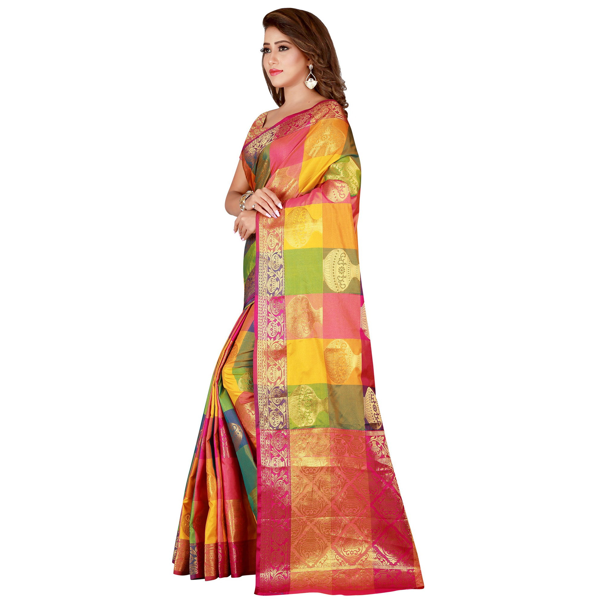 Marvellous Yellow-Pink Colored festive Wear Banarasi Silk Saree