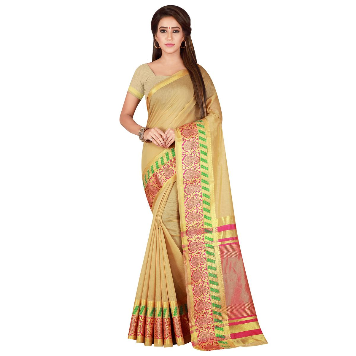 Classy Beige Colored festive Wear Pure Cotton Saree