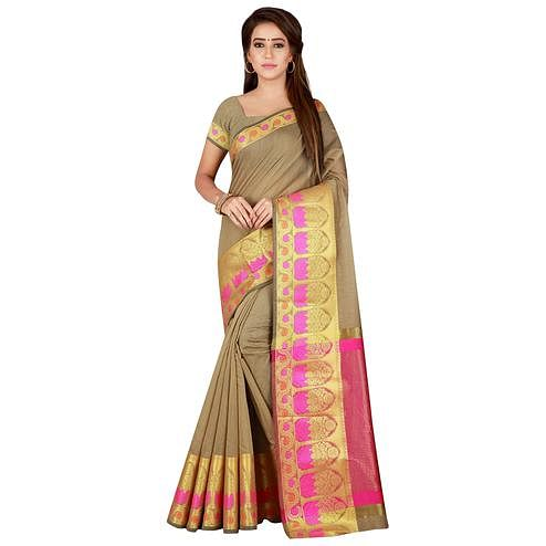 Appealing Chiku Colored festive Wear Pure Cotton Saree