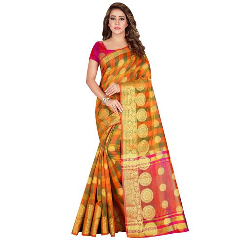 Groovy Orange Colored festive Wear Pure Cotton Saree
