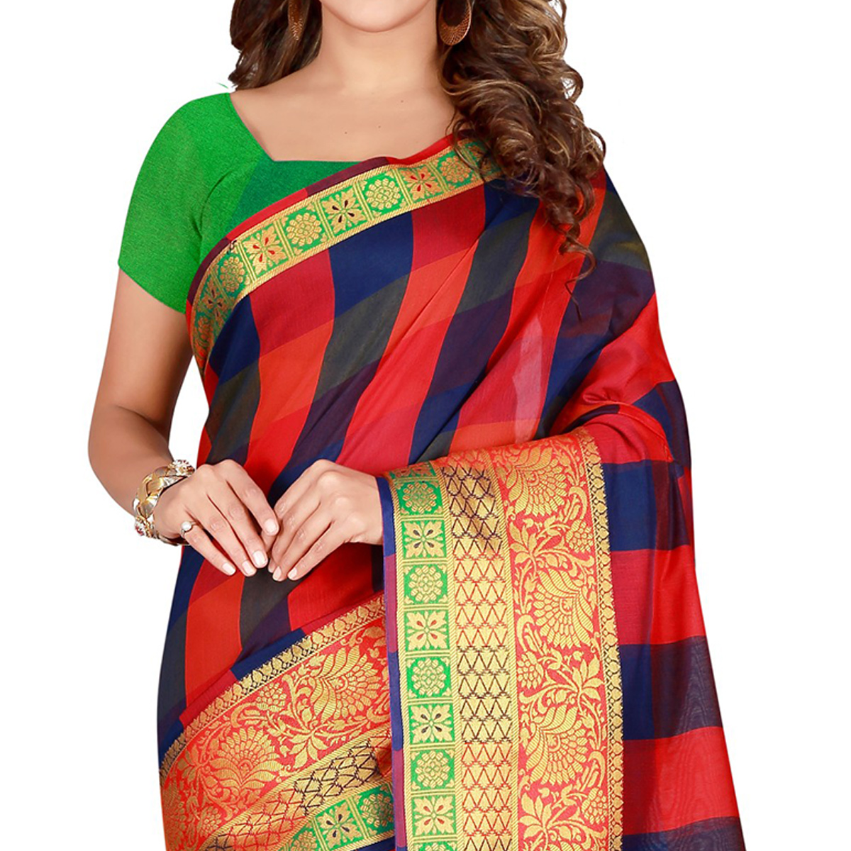 Prominent Red-Blue Colored festive Wear Pure Cotton Saree