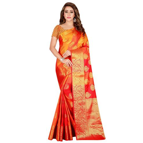 Capricious Orange-Red Colored festive Wear Banarasi Silk Saree