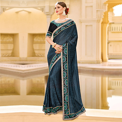 Grey Embroidered Work Party Wear Brasso Saree