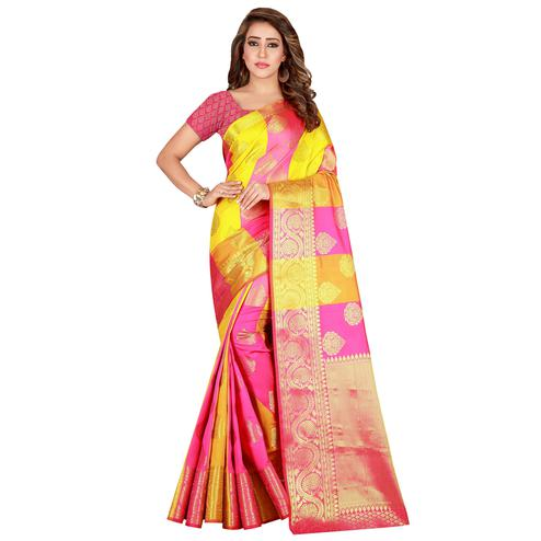 Adorable Pink-Yellow Colored festive Wear Banarasi Silk Saree