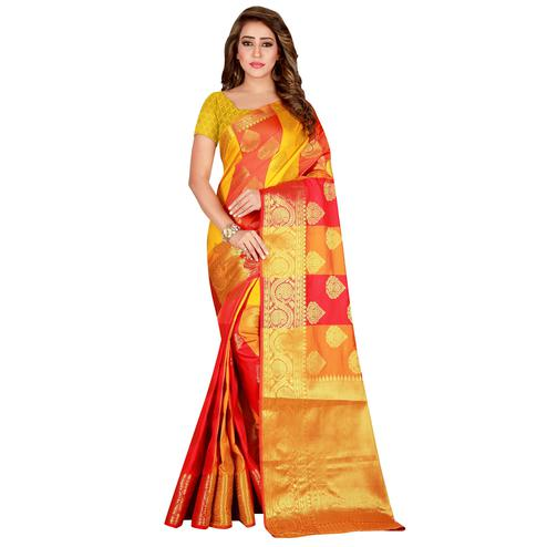 Glorious Yellow-Red Colored festive Wear Banarasi Silk Saree