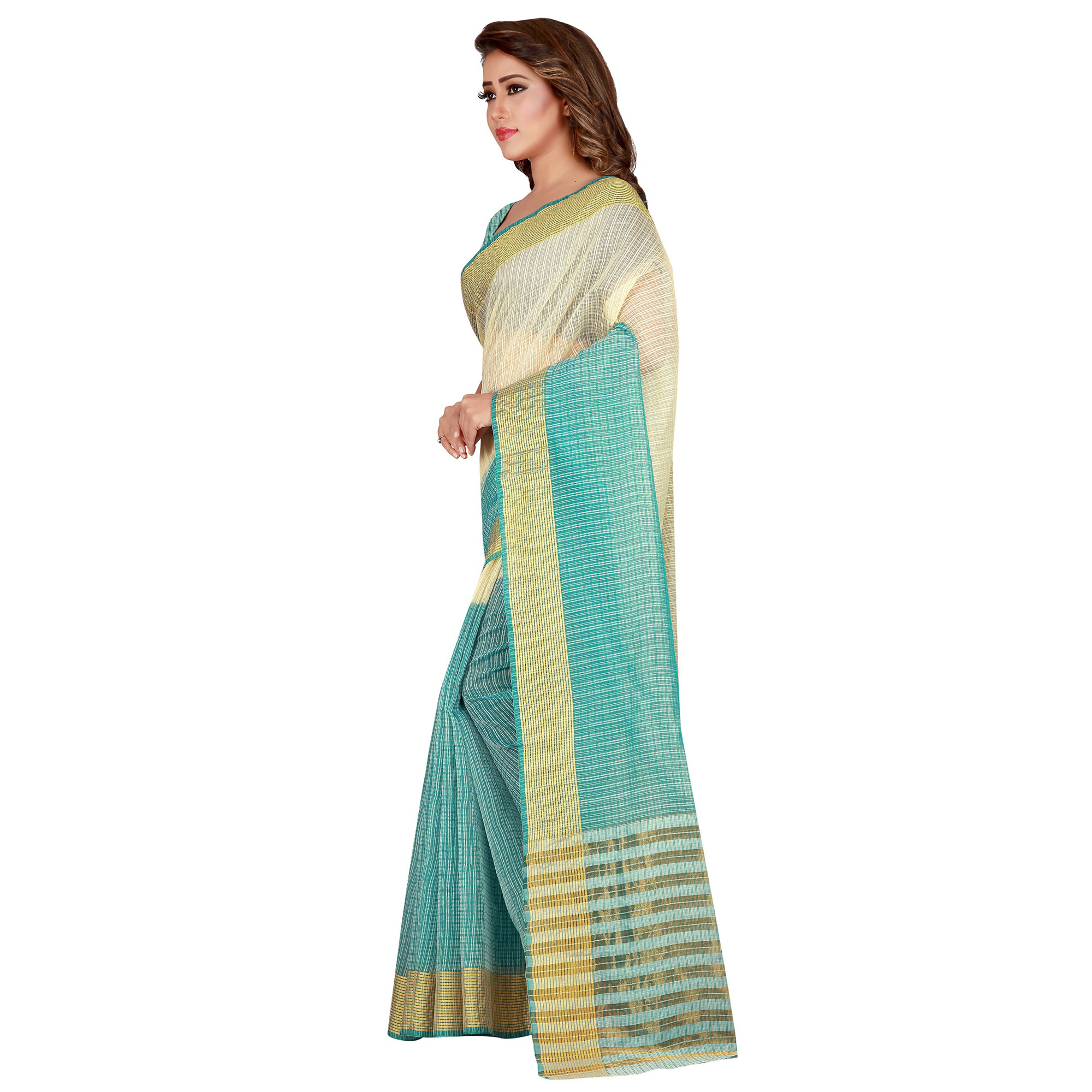 Graceful Sky Blue Colored festive Wear Manipuri Silk Saree