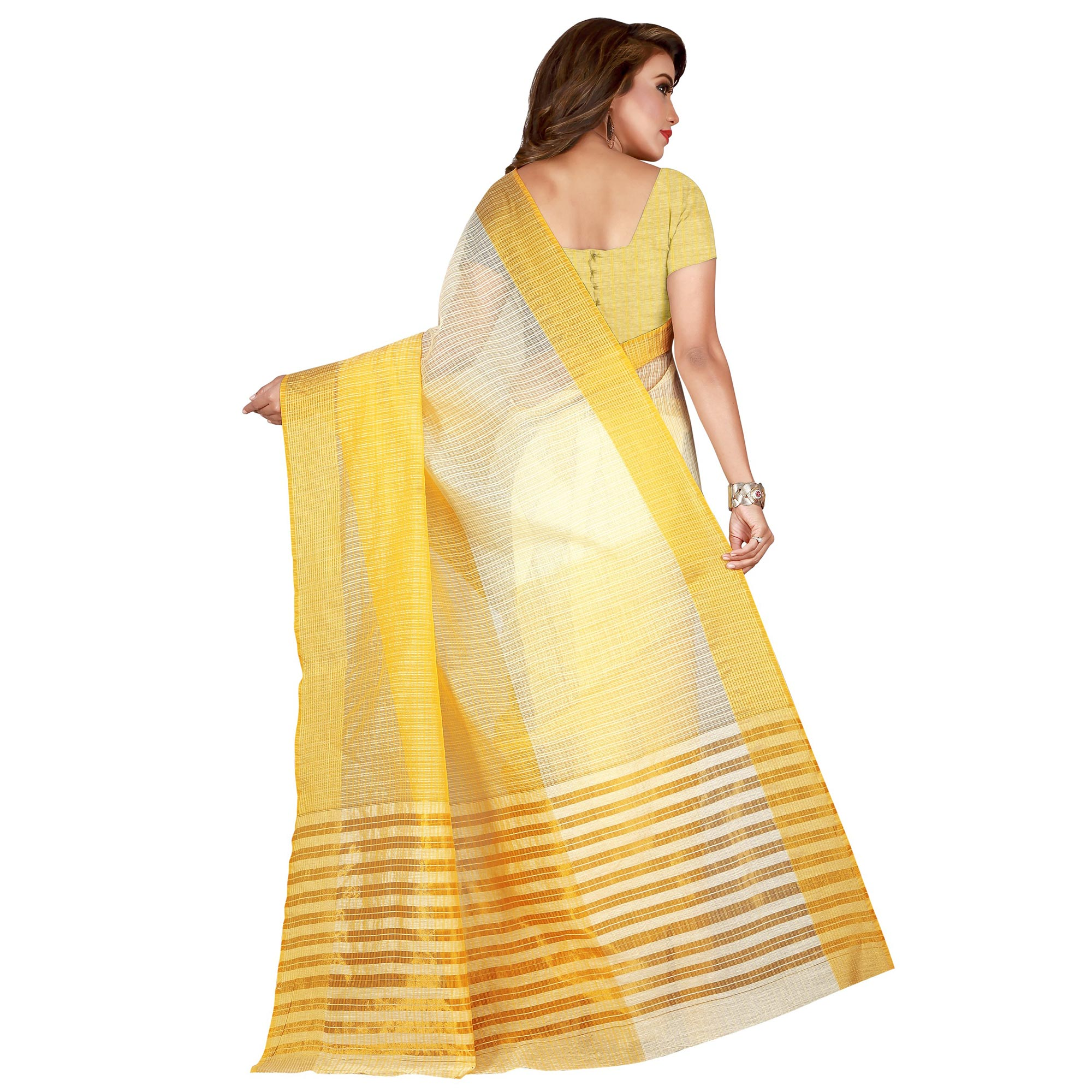 Blooming Yellow Colored festive Wear Manipuri Silk Saree