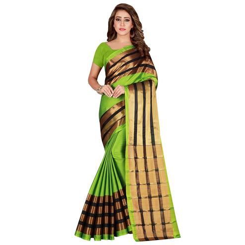 Charming Green Colored festive Wear Cotton Saree