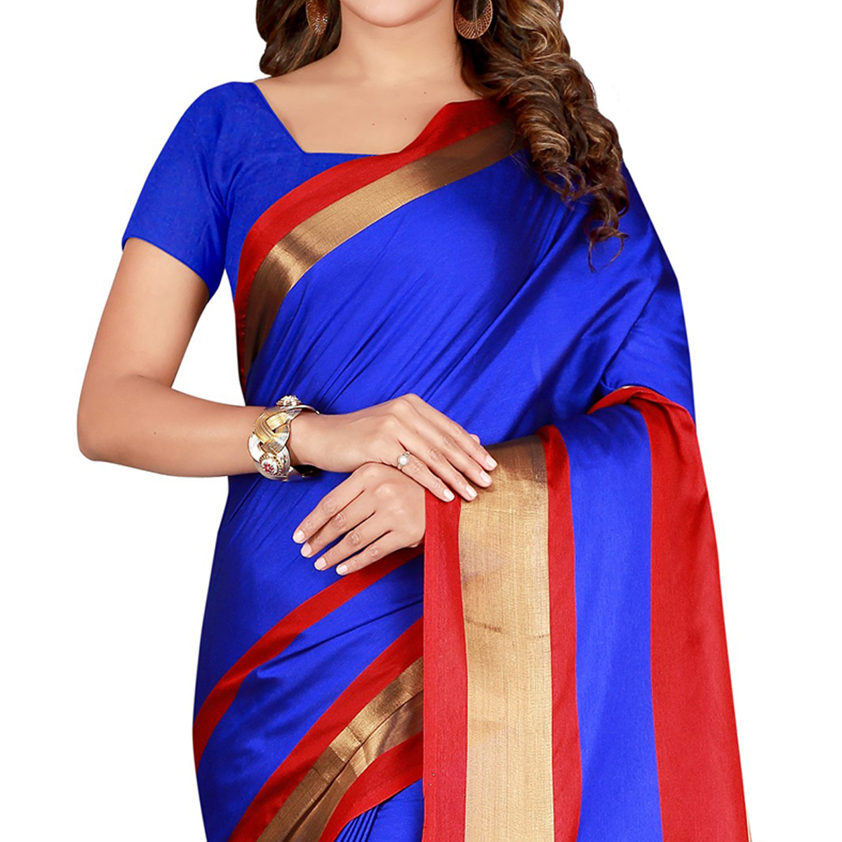 Engrossing Royal Blue Colored festive Wear Cotton Saree