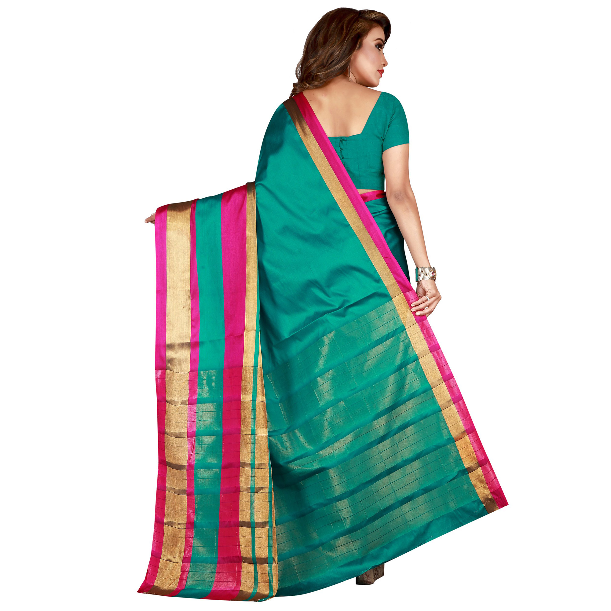 Captivating Turquoise Green Colored festive Wear Cotton Saree