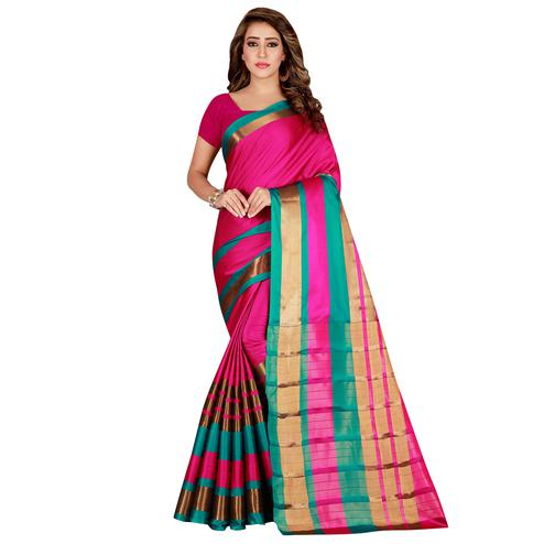 Innovative Pink Colored festive Wear Cotton Saree