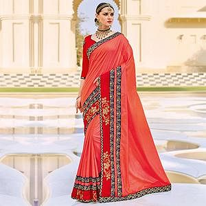Red Floral Embroidered Work Party Wear Silk Saree