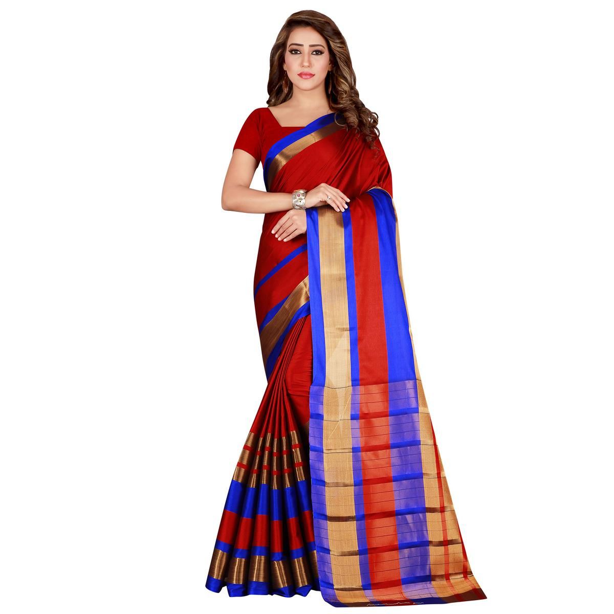 Eye-catching Red Colored festive Wear Cotton Saree