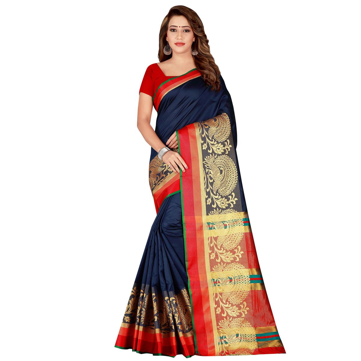 Gorgeous Navy Blue Colored festive Wear Silk Saree