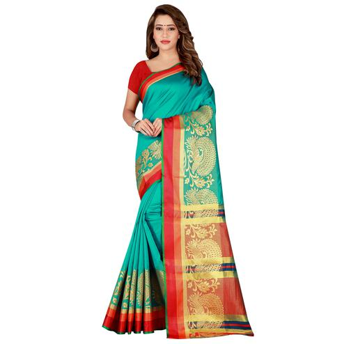 Blissful Sea Green Colored festive Wear Silk Saree
