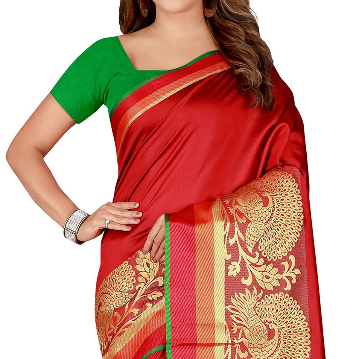 Ideal Red Colored festive Wear Silk Saree
