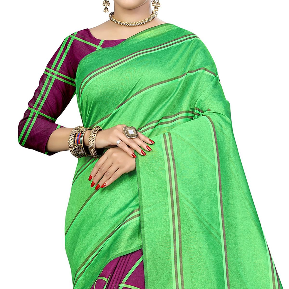 Hypnotic Magenta Pink-Green Colored Casual Printed Cotton Silk Saree