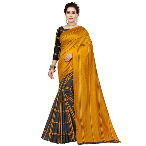 Flattering Mustard Yellow-Black Colored Casual Printed Cotton Silk Saree